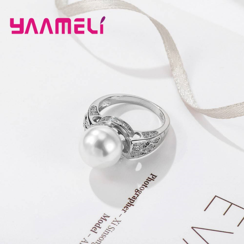 YAAMELI New Fashion 925 Sterling Silver Rings With Big Pearl Ring Size 6,7,8,9,10 Exaggerated Style Engagement Anillos