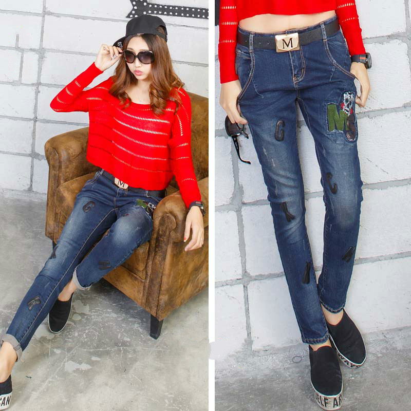 2016 lace jeans pants women The new pencil pants denim jeans with holes vaqueros mujer jean