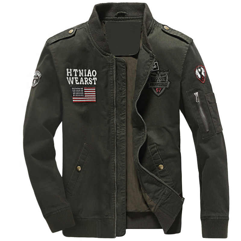 トレンディ冬ジャケットコート刺繍印刷軍人のジャケットコート立襟黒カーキグリーン男性のジャケットコート