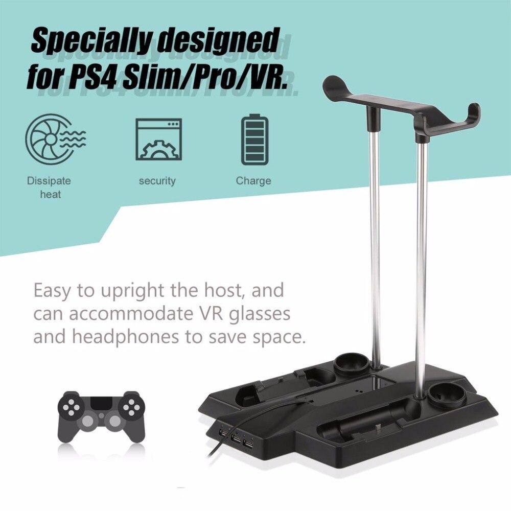 Support de charge multifonctionnel parfait pour PS4 Pro/Slim + VR hôte et poignée Kit de support Vertical avec 3 Interfaces HUB