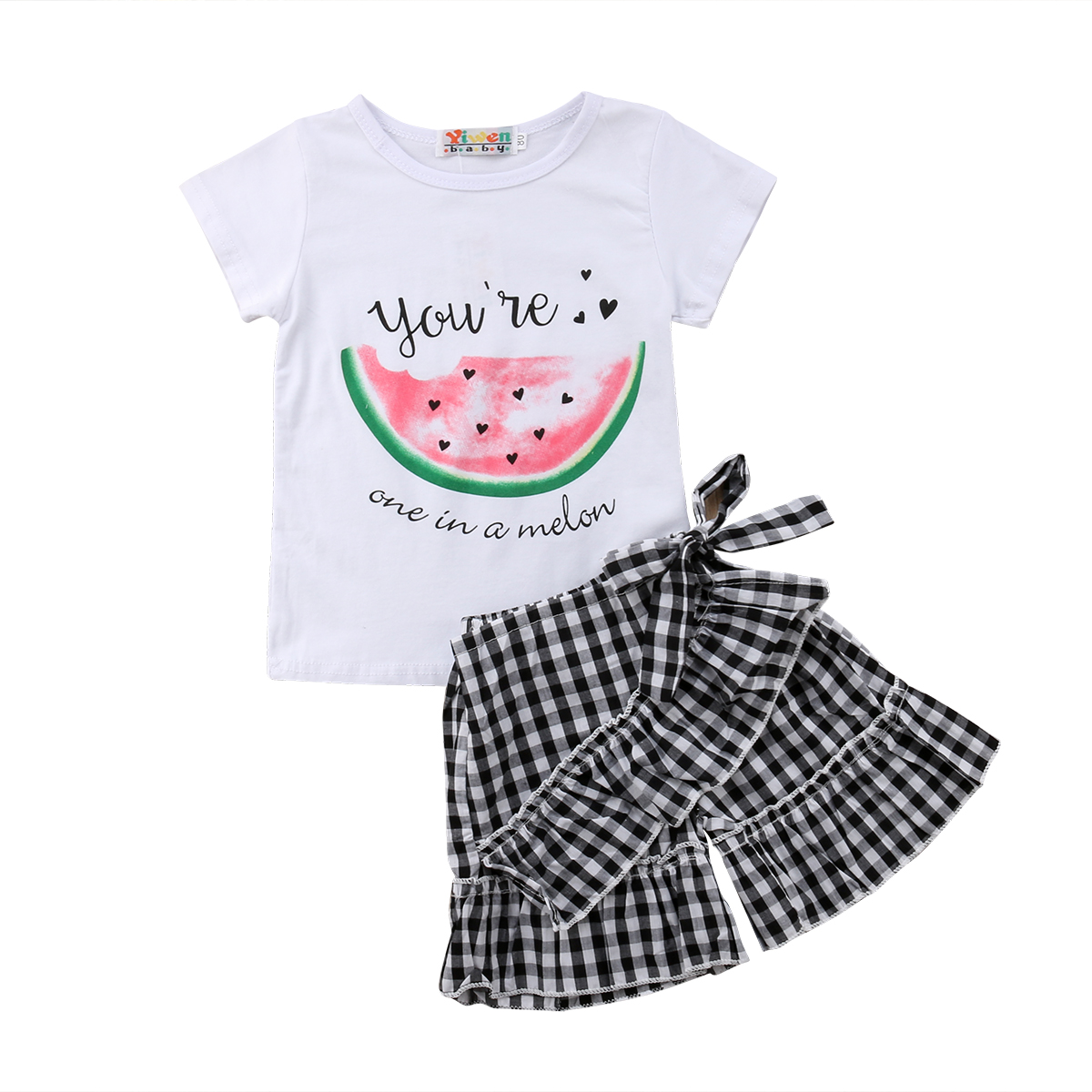 Toddler Kids Baby Girls Clothing T-shirt Tops Beach Shorts Plaid Cotton Summer Outfits Clothes 2PCS Set Girl 1-6T