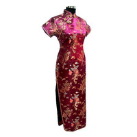 Hot Top Burgundy Chinese Women S Satin Long Cheongsam Classic Dress Qipao Size S M L