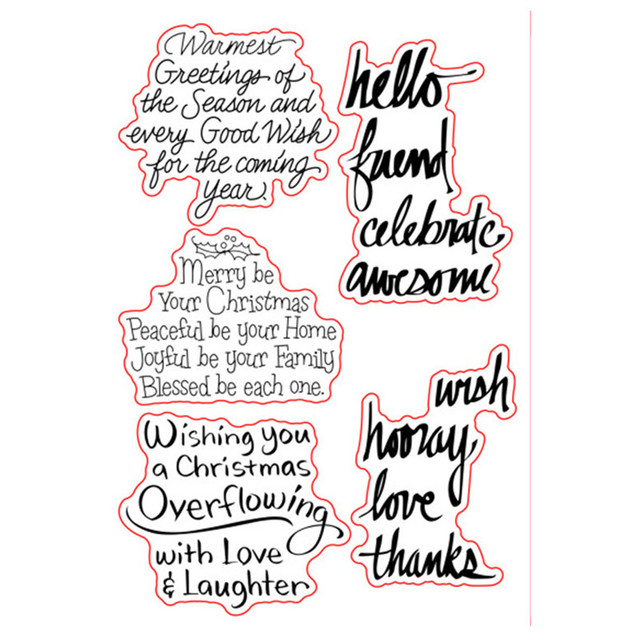 Merry Christmas Sayings Sentiments Verse Rubber Clear Stamp/Seal ...
