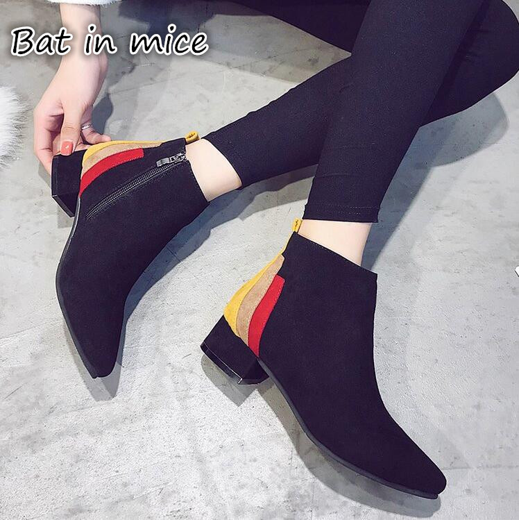 2016 Autumn New Women font b Boots b font Waterproof Fashion Ankle Rubber Elastic Band Solid