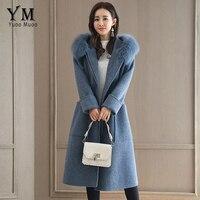 YuooMuoo New High Quality Designer Cashmere Coat Women Long Winter Jacket Wool Coat Blue Artificial Feather Hooded Woolen Coat
