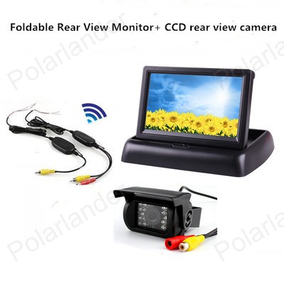 24V truck bus 4.3 inch Foldable TFT LCD Car Reverse Rear View Monitor add CCD rear view camera+wireless transmitter receiver wireless color ccd chip car rear view camera for kia sorento sportage 4 3 inch foldable lcd tft monitor