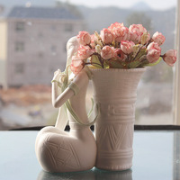 Unique Ceramic Vase Pack Basket Girl Ceramic Ornament Home Decoration Furnishings Handmade Ceramic Vase Craft Wedding