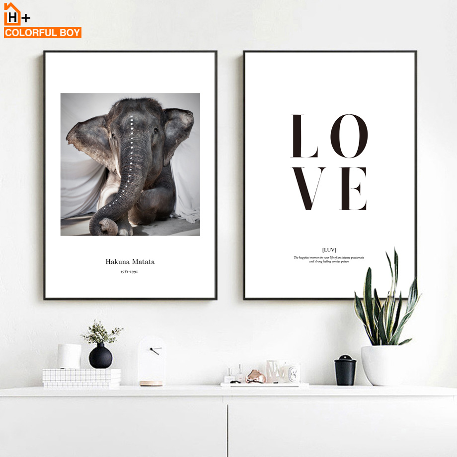 COLORFULBOY Love Elephant Wall Art Print Canvas Painting Nordic Poster Wall Pictures For Living Room Home Decor Animal Poster african elephant