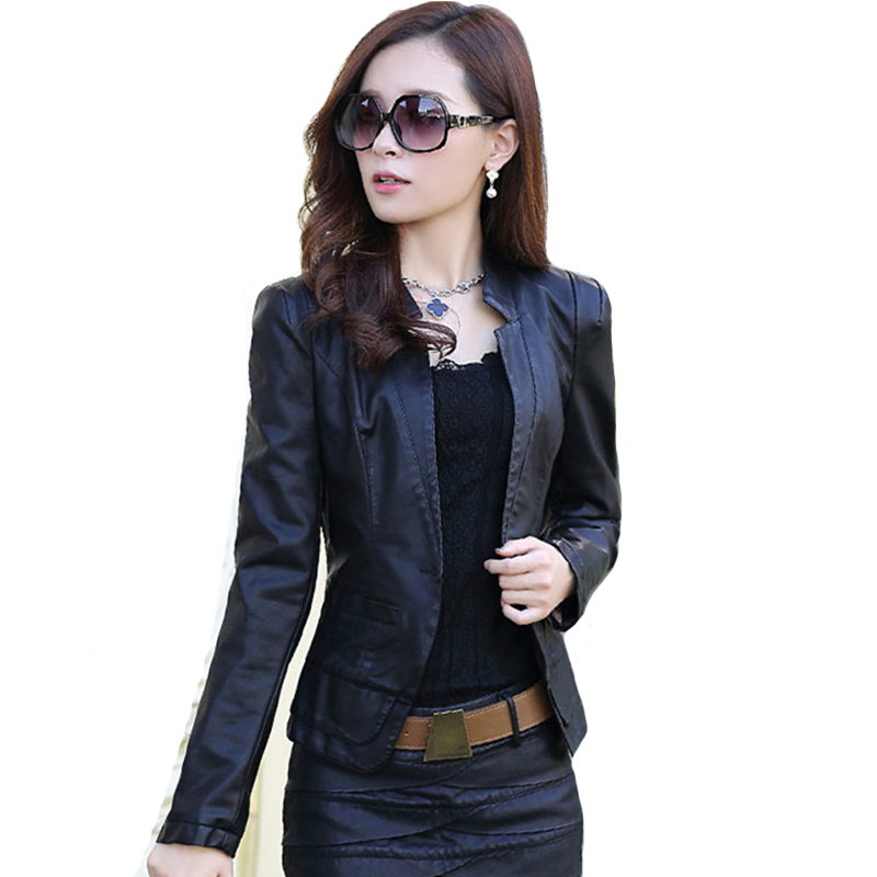 2019 Faux Pu Women Autumn   Leather   Jacket Turn-down Collar Slim All Classical Black Female Coat Outwear Ladies Thin Jacket
