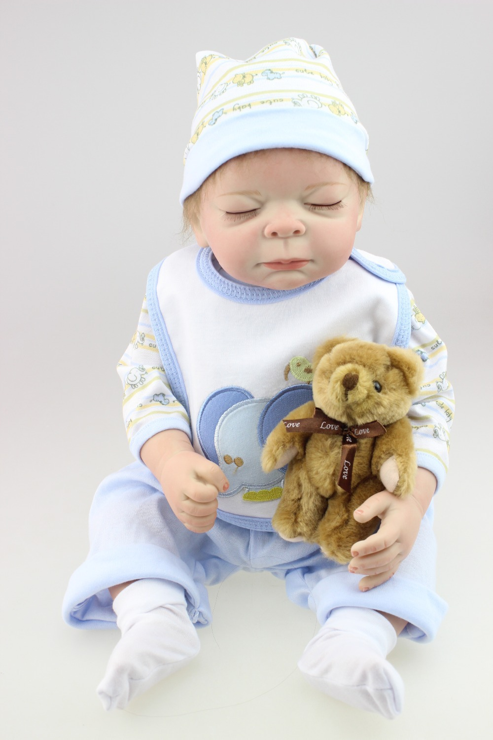 2016 Newborn Simulation Babydoll Silicone Vinyl Doll Educational Baby toys Girls Present with soft PP cotton body newborn simulation babydoll silicone vinyl doll educational enlightenment baby toys girls present