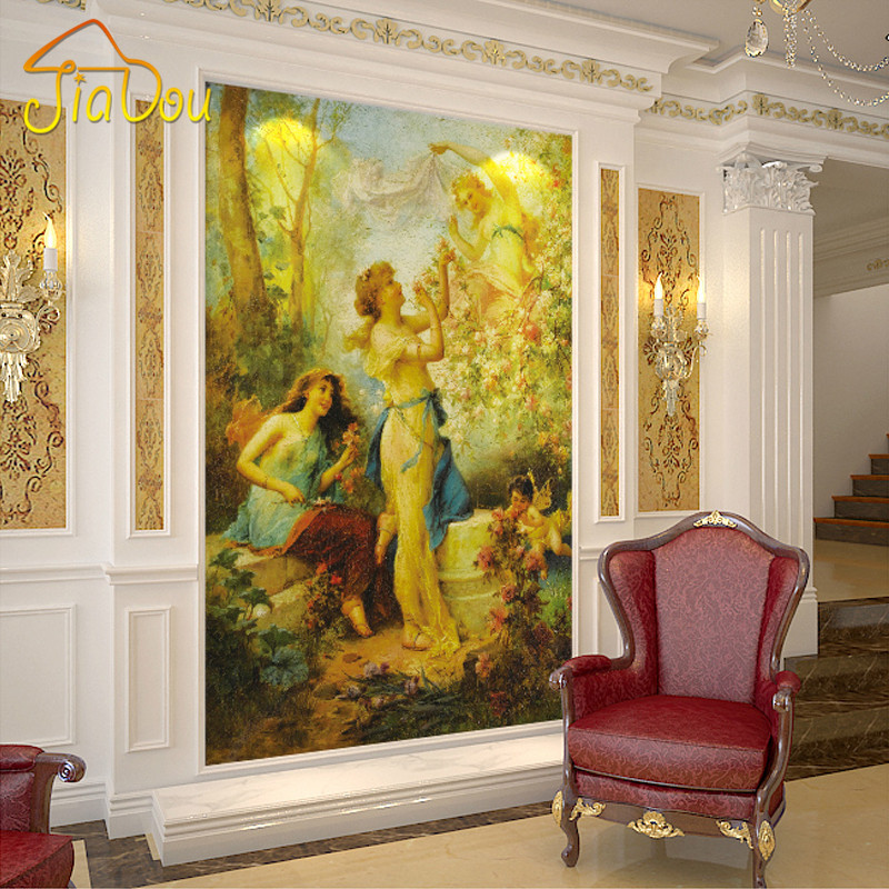 Custom 3D Wall Mural Wallpaper European Figure Oil Painting Art Mural Living Room Hallway Entrance Background Photo Wallpaper free shipping 3d stereo entrance hallway custom wallpaper vertical version european oil painting wallpaper mural