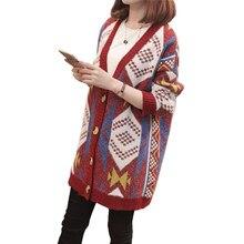 2018 cardigan femenino mujeres Plaid knit cardigan suéter escudo v-cuello  Plaid Loose Harajuku rojo 669863d4d9f7