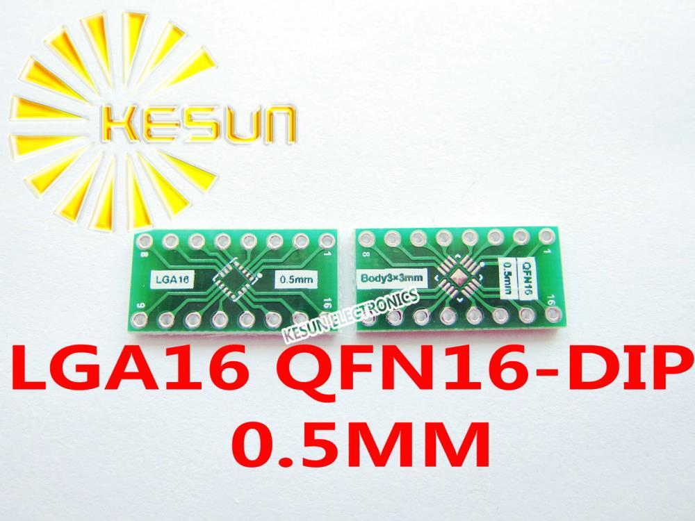 100PCS LGA16 QFN16 turn DIP16 0.5MM Pitch IC adapter Socket / Adapter plate PCB
