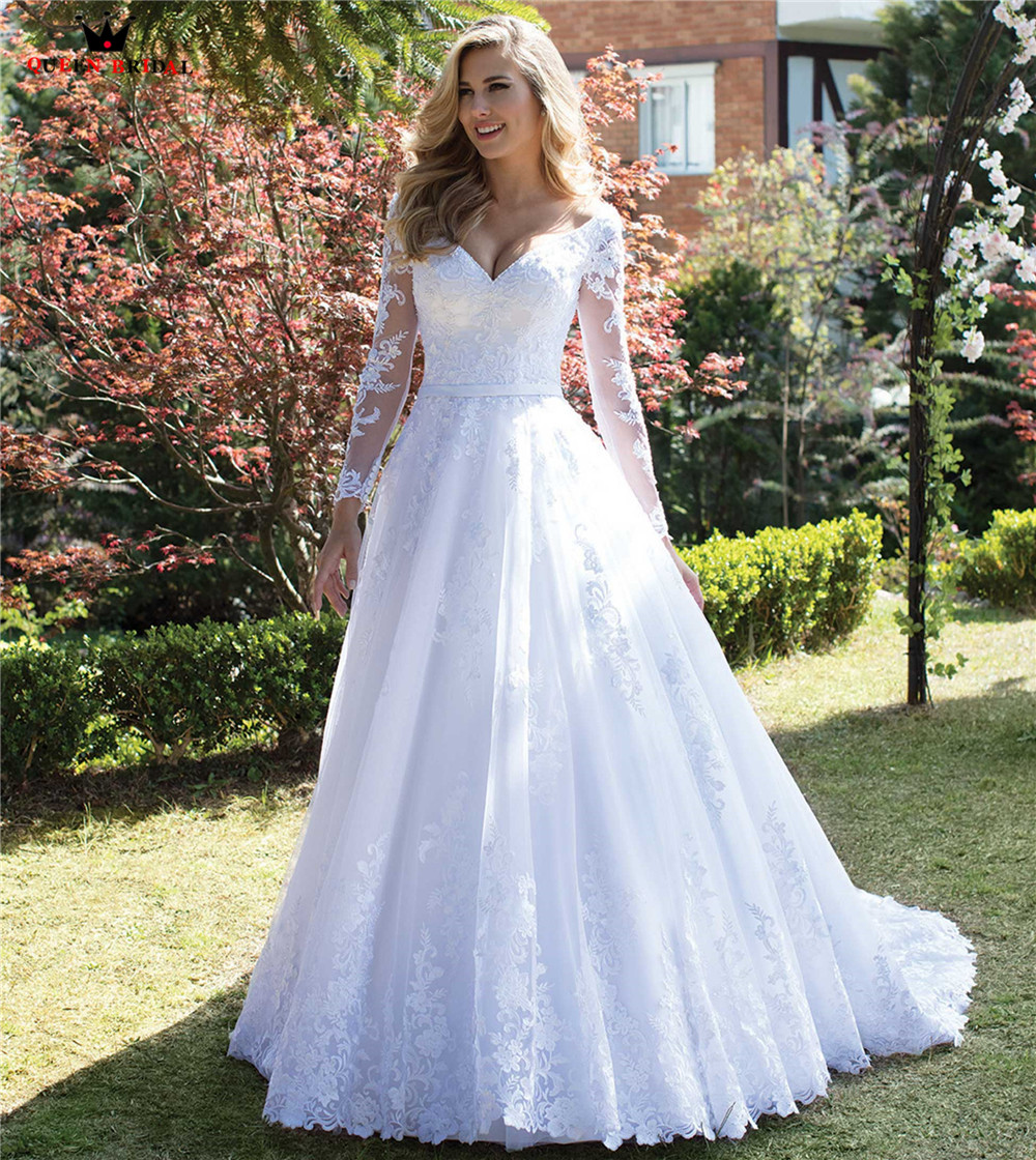 7711f0690 A-line Long Sleeve Tulle Lace Pearls Beaded Luxury Sexy Wedding Dresses  Bridal Gowns Vestido de Noiva 2019 New Design WH37M