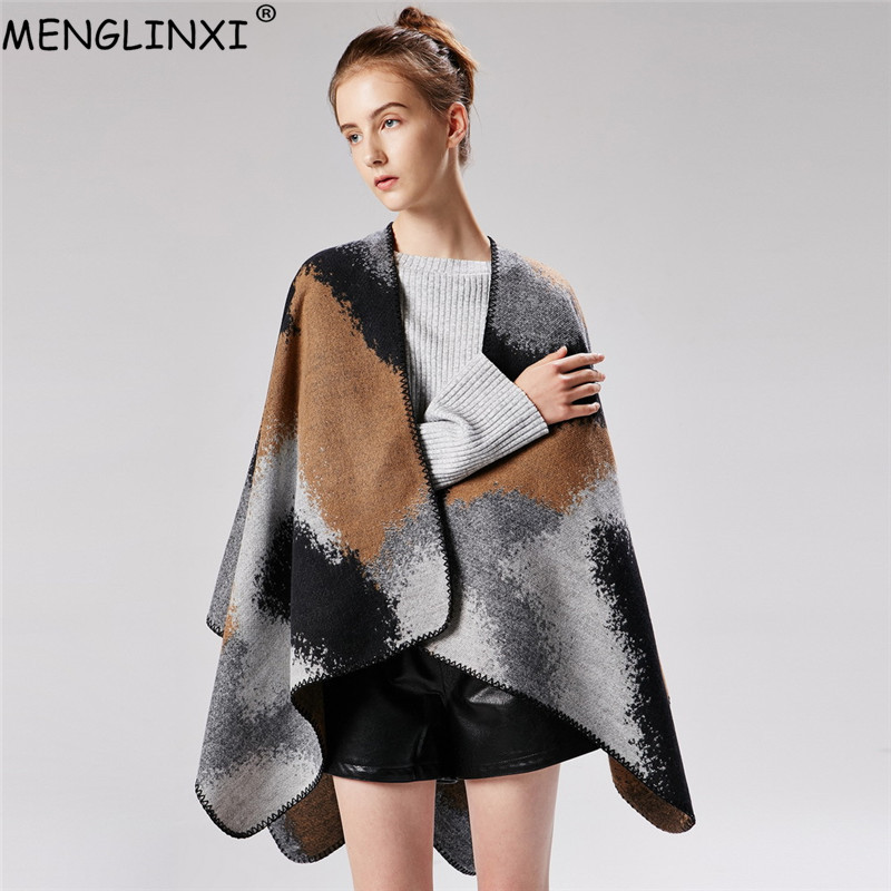gradually changing color women poncho fashion show pashmina cashmere like winter scarf shawl cape brand plaid scarves for ladie