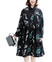 Yesno QT5 Women Autumn Shirt Dress Long Sleeved Print Dress Women Femme Vestidos 100 Cotton Feminine