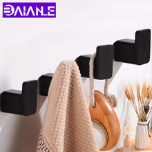 Gancho de Bata montado en la pared gancho de toalla de baño negro de aluminio Vintage ganchos colgador único bolso decorativo para llaves o sombreros Perchero de ropa