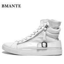 Модная повседневная обувь из натуральной кожи; цвет белый, черный; мужские высокие теннисные ботинки с высоким берцем; bambas Bieber; кроссовки; красовки для мужчин