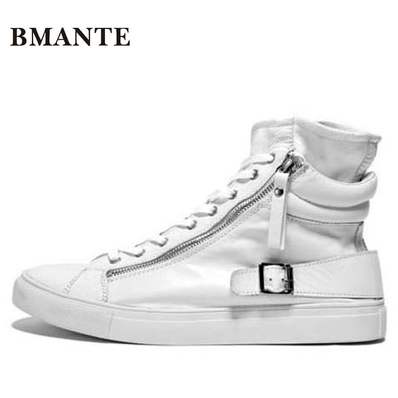 Moda vera pelle calzature casual Bianco nero maschio hightop krasovki alto bambas Bieber High top boot formatori scarpa da tennis degli uomini-in Stivali per moto da Scarpe su  Gruppo 1