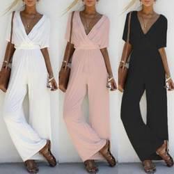Женские модные комбинезоны с v-образным вырезом, Женские однотонные повседневные Длинные Комбинезоны, комбинезон с коротким рукавом