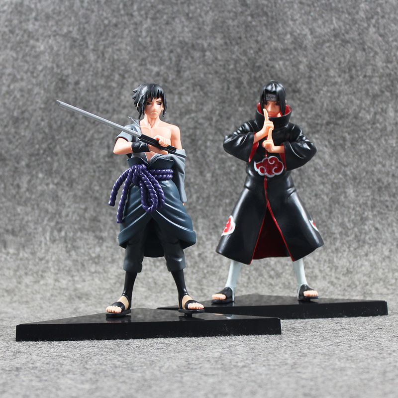 2pcs/lot 15cm Naruto Uchiha Sasuke Uchiha itachi PVC Action Figures Collectible Model Toy pu short wallet w colorful printing of naruto shippuden uchiha itachi