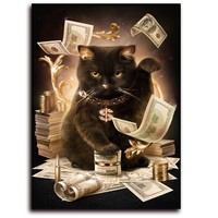 5D Diy Diamond Painting Cat Dollar Cross Stitch Full Drill Resin Diamond Embroidery Kits Paint Diamond
