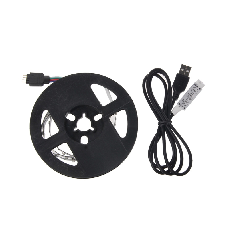 5V 3528 RGB USB 30 LED/m Non Waterproof Flexible Strip Light TV Back Lighting Kit+3 Key RGB Controller L22