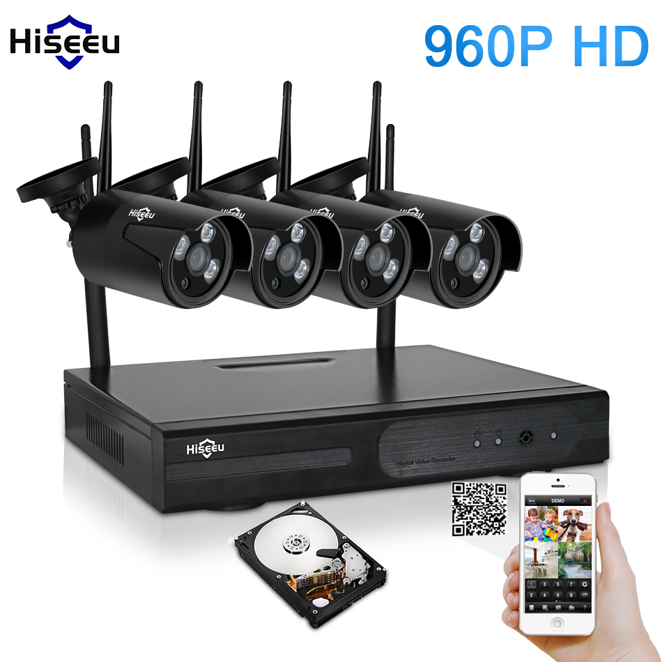 Hiseeu Wireless NVR 960P HD Outdoor Home Security Camera System 4CH CCTV Video Surveillance NVR Kit HDD Wifi Camera Set black