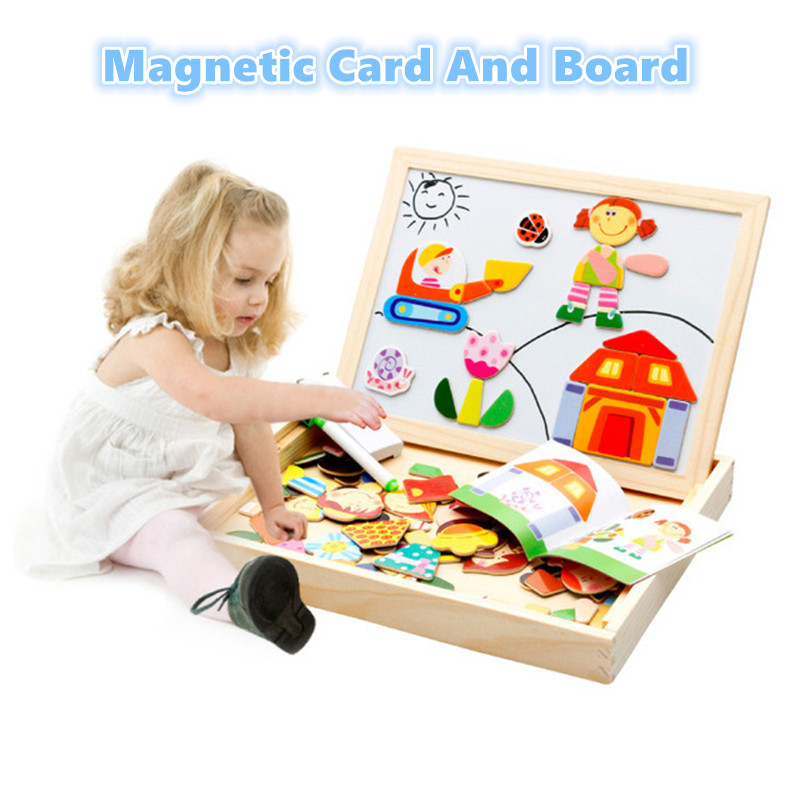 Wooden 2 In 1 Magnetic Cards &Double Side Board Baby Sorting &Nesting&Stacking&Drawing&Writing BlackBoard Puzzle Educational Toy