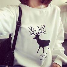 2016 Fashion Women Christmas Hoodies Sweatshirt Pullover Harajuku Reindeer Printed Pullover sudaderas mujer Plus Size