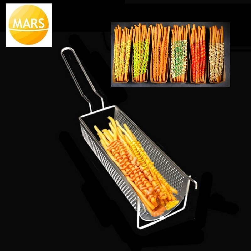 French Fries Basket Stainless Steel Fryer Potato Chips Frying Baskets Strainer Cooking Long Fries Kitchen Colander Holders Tools|Waffle Makers| |  - title=