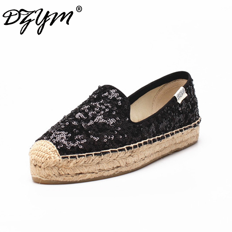 все цены на DZYM 2018 Spring New Arrival Sequined Cloth Espadrille Bling Women Platform Flats Linen Straw Fisherman Shoes Hemp Zapatos Mujer