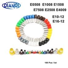 100 шт./упак. E0508 E7508 E1008 E1508 E2508 E4009 изолированный наконечник клеммной колодки шнур разъем провода электрические обжимной Терминатор