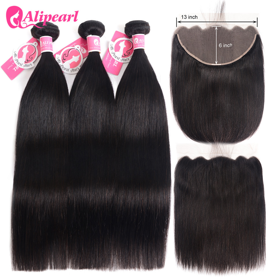 Alipearl Peruvian Straight Hair Weave Bundles 13x6 Human Hair Lace Frontal Closure With Bundles 3 PCS Natural Color Remy Hair