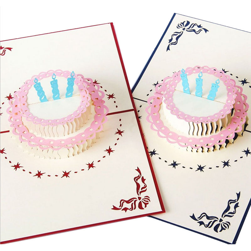 3D Pop Up Greeting Card Handmade Happy Birthday Cake Valentines Day Thank You Postcard New XQ Drop shipping creative gifts 3d pop up card greeting