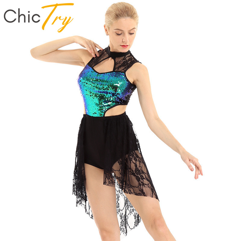 ChicTry Sleeveless Shiny Sequins Asymmetrical Lace Ballet Leotard Women Figure Skating Dress Contemporary Lyrical Dance Costumes image