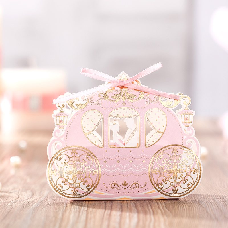100pcs Laser Cut Carriage Candy Box Wedding Bride And Groom Candy