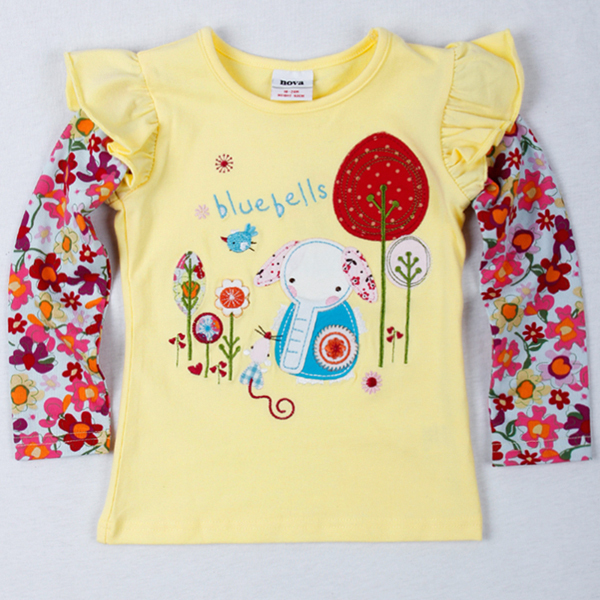 New arrival!!! Free shipping 5pcs/lot girl's flowers long sleeve t shirt with blue elephant embroidery