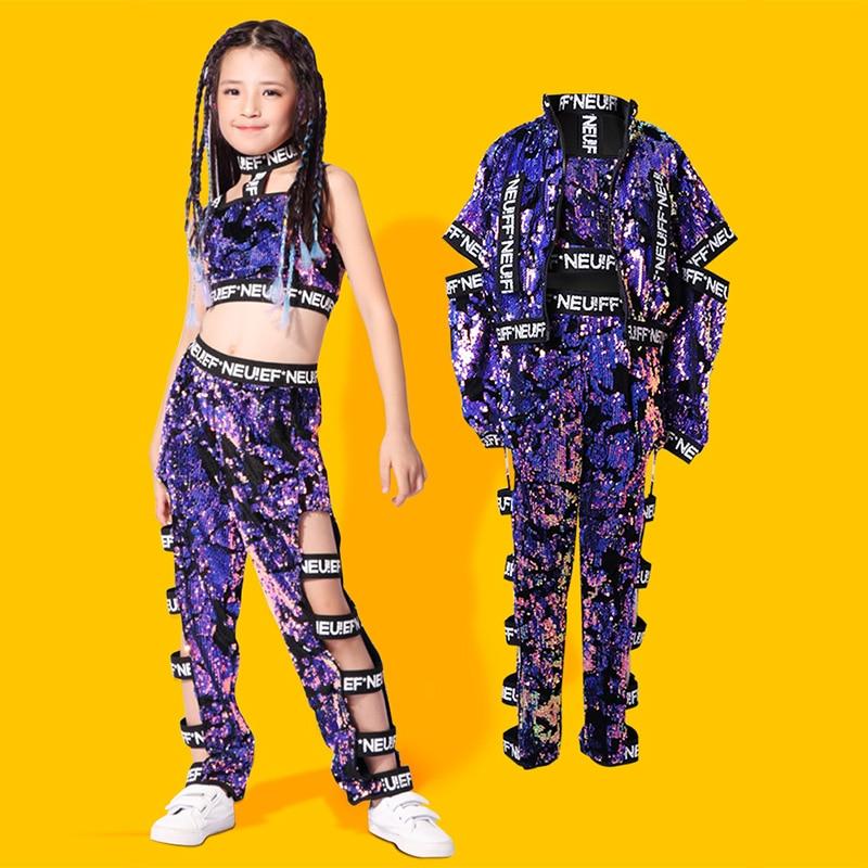 Children Colorful Jazz Sequin Dance Costume Kids Hip Hop Clothing For Girls Dancing Costumes Street Performance Wear DL2802