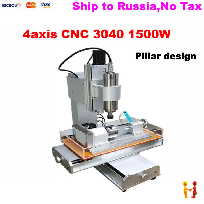 Russain no tax Factory use CNC Router 3040 Pillar type CNC drilling milling machine with 1500W spindle motor free tax desktop cnc wood router 3040 engraving drilling and milling machine