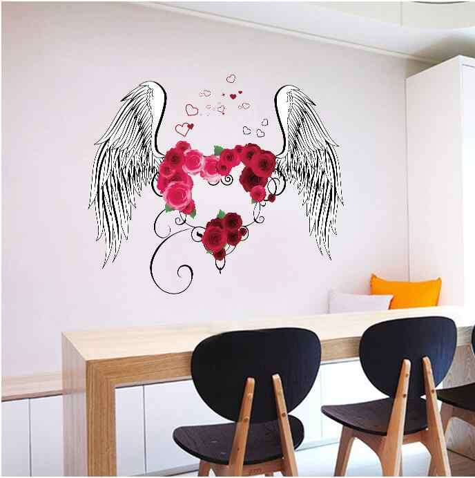60*90cm Red Love Heart Rose Flowers Angel Feather Wings Wall Sticker Bedroom Parlor Love Home Decoration Vinyl Sweet Home