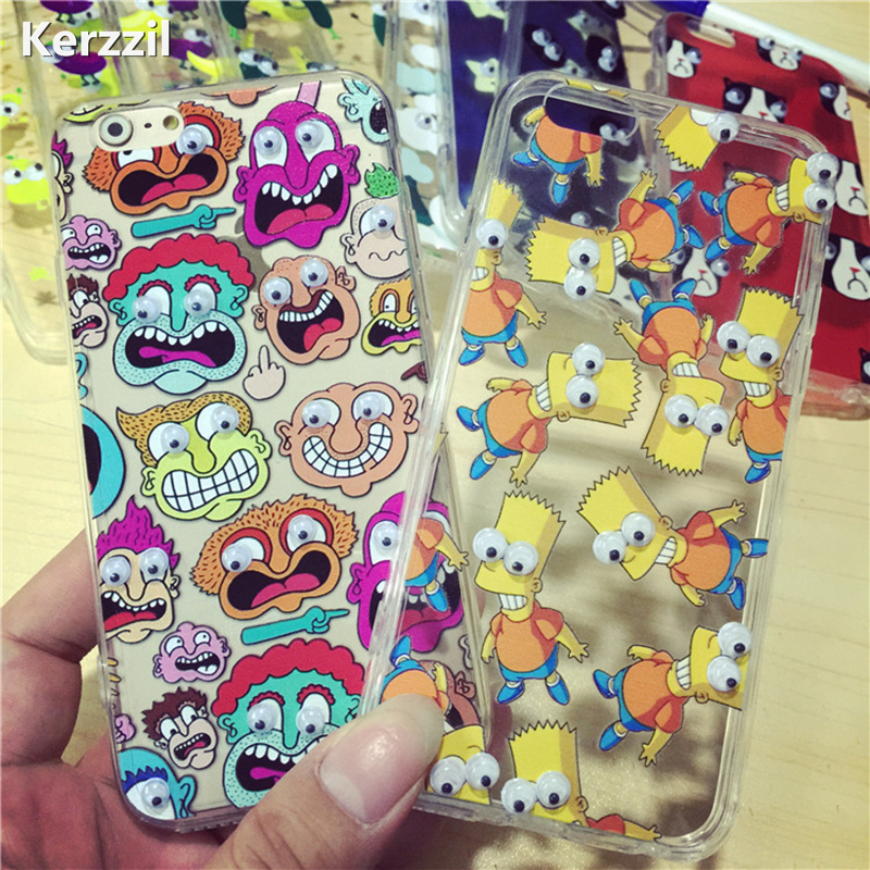 For iphone7 7 plus 3D Cute Cartoon Move Eye Big Mouth Donut Cactus Popcorn Case For iPhone7 6 6SPlus SE 5 5S Soft TPU Back Cover