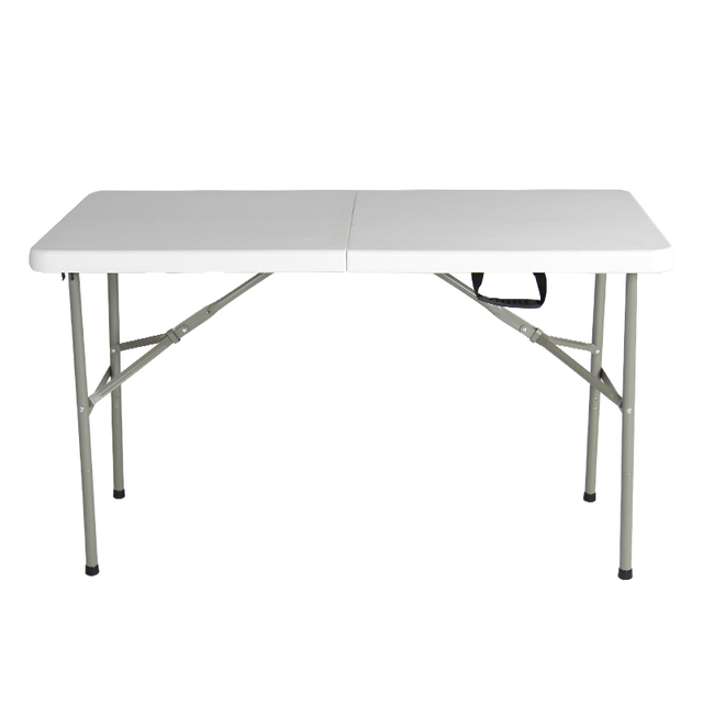 Folding Tables Plastic Top Fold In Half Table 400 Kg Load Capacity With  Steel Securing Pins
