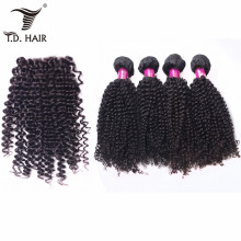 tdhair 4 pcs Malaysia Kinky Curly Hair Weave Bundles With Closure Virgin Hair Weave Bundles with 4*4 Lace Closure(China)