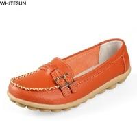 WHITESUN Women Drive Car Shoes Middle Age Lady Sandals Shoes Cow Split Leather Shoes Woman Slip