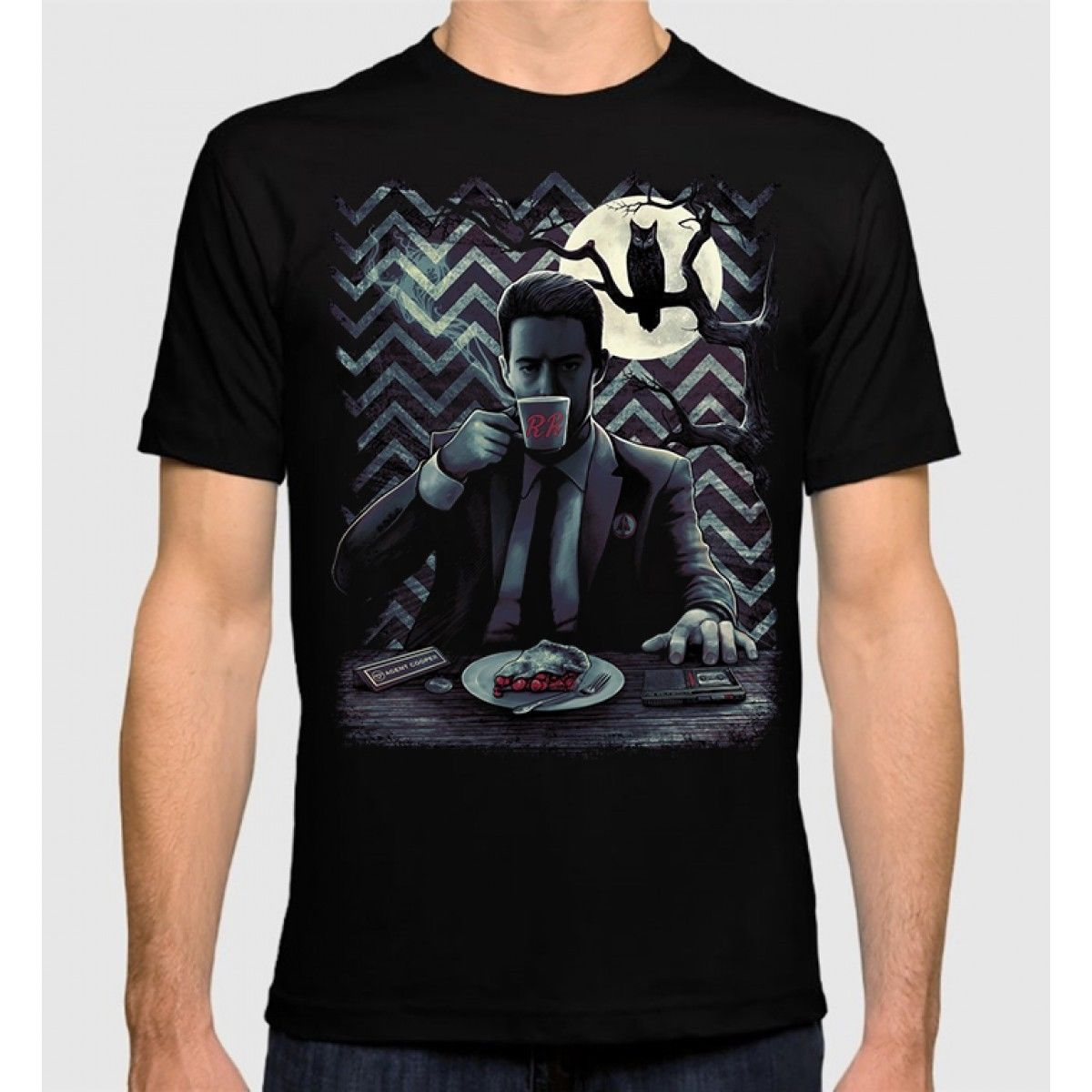 Twin Peaks Agent Cooper T-Shirt David Lynch 100% Cotton New Dale Cooper Tee T Shirt Men Black Short Sleeve Cotton Hip Hop