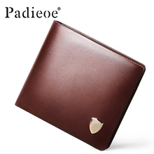 PADIEOE MEN High Quality Genuine Leather Wallet Luxury Designer mens Wallets and Purses Fashion Slim Wallets