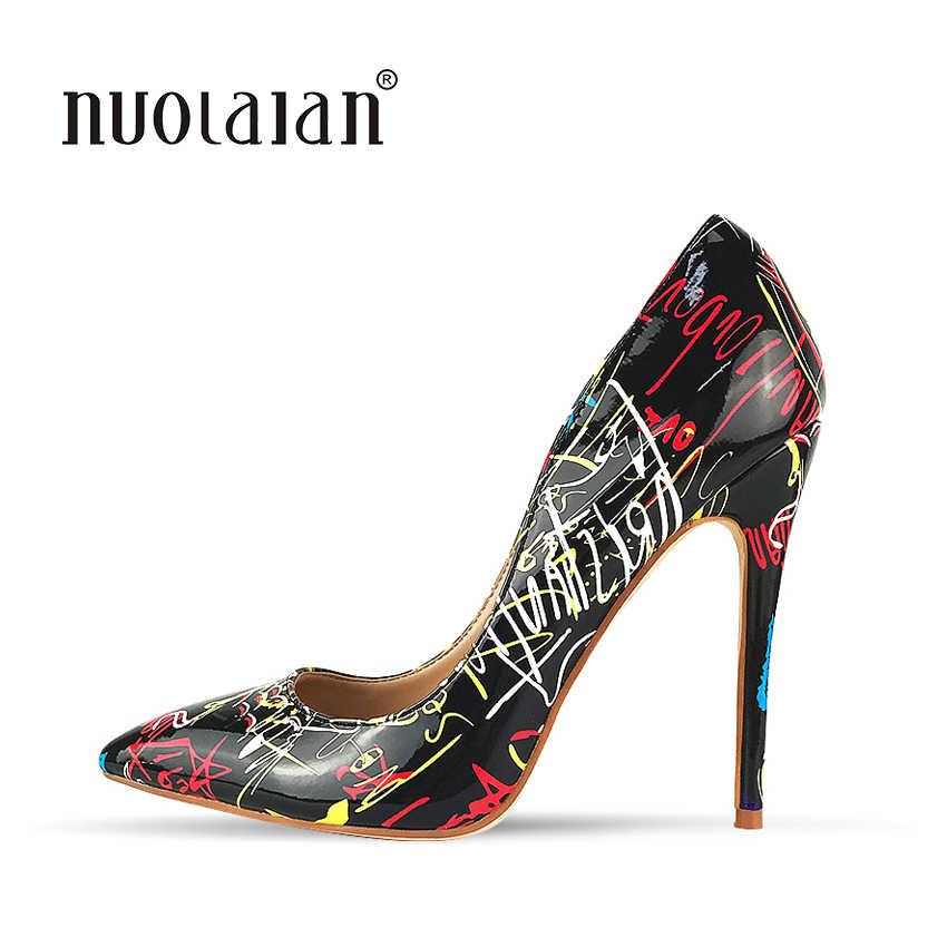 2018 marke Mode Graffiti Bunten Frauen Pumpt Sexy Stiletto high heels Hochzeit Frauen Schuhe sapato feminino