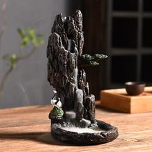 Waterfall Incense Cone Sticks Holder Buddhism Backflow Burner Ceramic Censer Zen Lofty Mountains And Flowing Water Decor