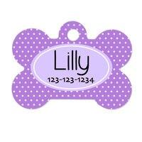 Personalized Lavendar Purple Polka Dot Wedding Decoration Pet Gift Funny Custom Cute Fashion Dog Tag Dog